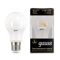 Лампа Gauss LED A60-dim E27 11W 3000К