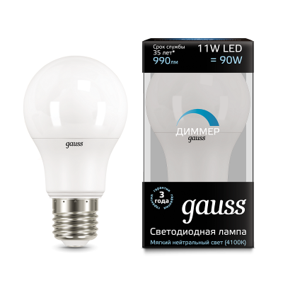 Лампа Gauss LED A60-dim E27 11W 4100К